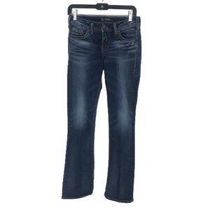 Silver Suki Mid-Rise Slim Boot Jeans Dark Wash 27